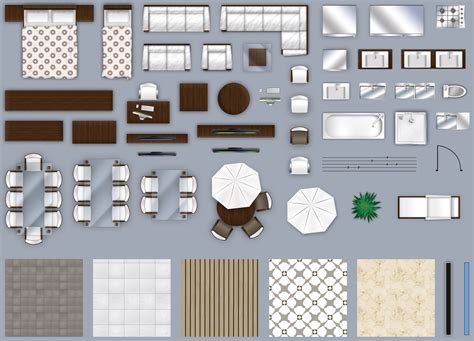 floor plan with furniture 2d furniture floorplan top down view style 2 psd 3d model