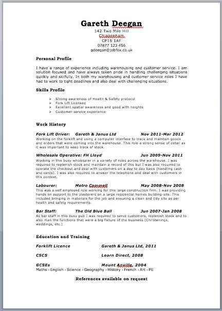 resume exles uk cv resume format sle