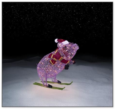 lighted christmas pig outdoor decoration