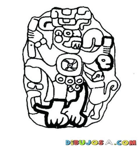 mayas imagenes dibujos dibujo de una estela maya para pintar y colorear