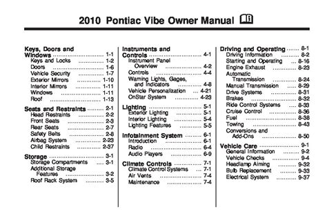 car service manuals pdf 1989 pontiac gemini seat position control service manual car repair manuals online pdf 2004 pontiac vibe seat position control