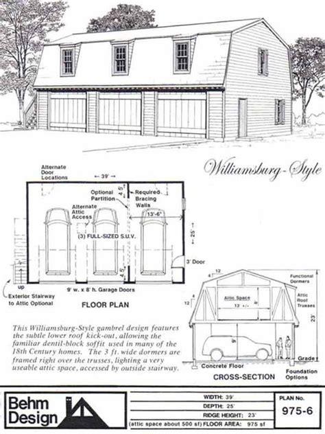 gambrel garage plans colonial style gambrel 3 car garage plan with loft 975 6