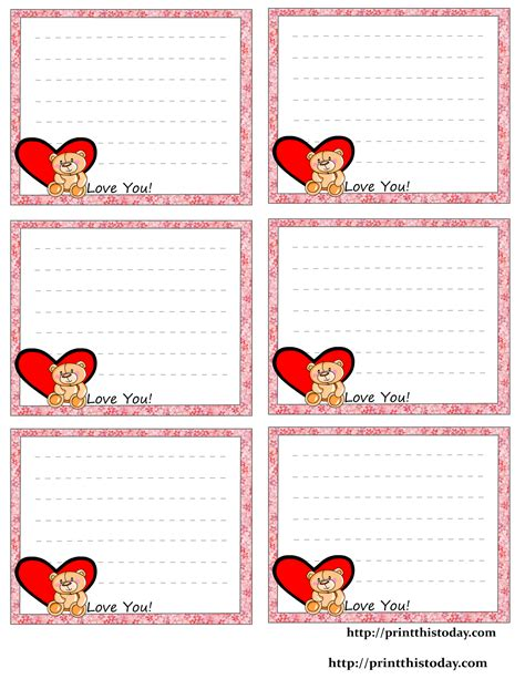 printable gratis free printable love notes stationery