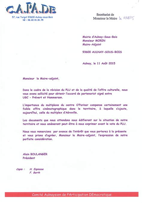 Demande De Partenariat Lettre Modele capade demande 224 l adjoint 224 la culture d aulnay sous bois