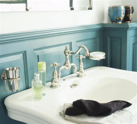 Blue Wainscoting by Teal Bathroom Wainscoting Bathroom