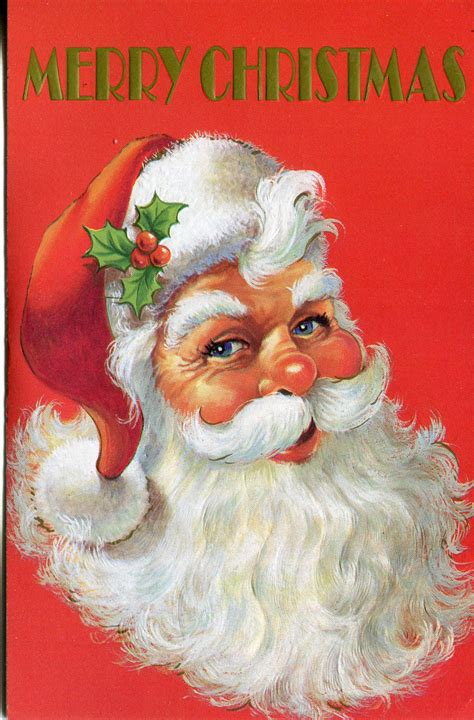 unused vintage christmas card santa claus with holly in