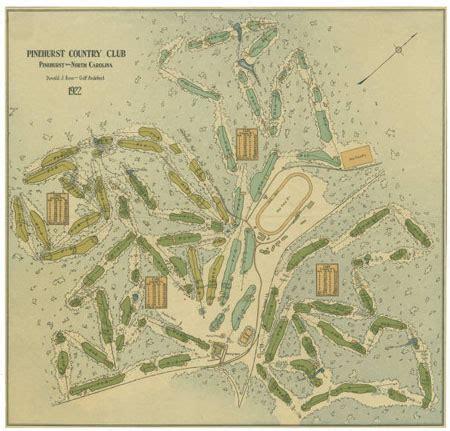 carolina golf courses map donald ross map of pinehurst golf courses 1922 171