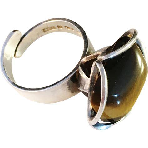 bold vintage 1975 modernist sterling silver ring w large