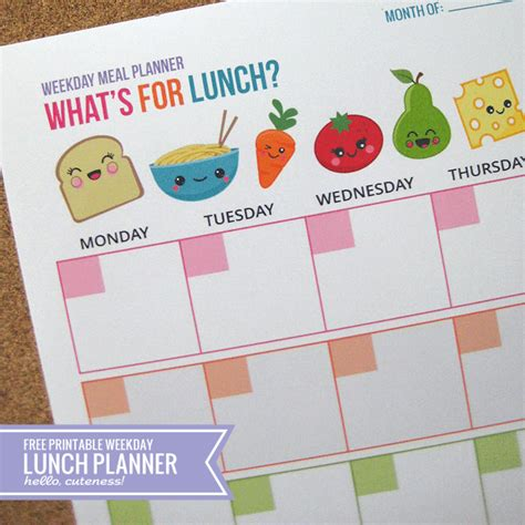 menu design what s for lunch free printable weekday lunch planner