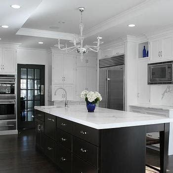 White And Espresso Kitchen Cabinets White Kitchen Cabinets With Espresso Island Transitional
