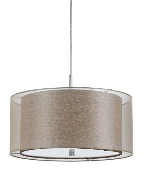 white drum pendant light fixture double shade sheer fabric burlap modern drum pendant