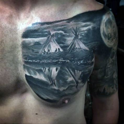 tattoo chest indian american native black and white indian homes realistic