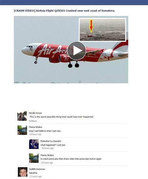 airasia facebook airasia flight qz8501 crash video on facebook used as