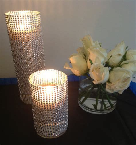 Bling Wrap For Vases by Set Of 10 Fully Covered Silver Rhinestone Wrap Glass Cylinder