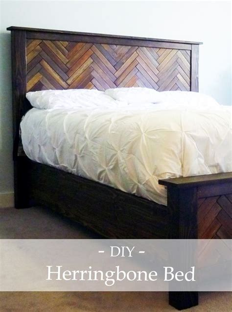 diy wood herringbone bed  reclaimed wood tiles