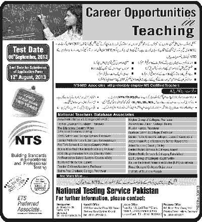 test pattern of nts teaching staff required through ntd nts tests 2013