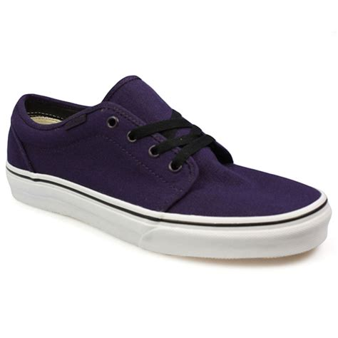 purple and black sneakers vans 106 mens womens purple black white canvas trainers