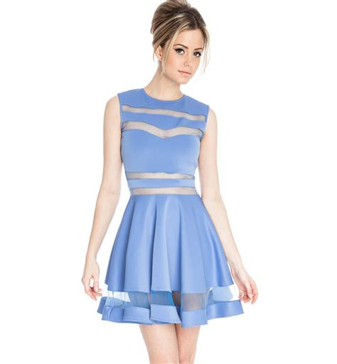 Light Blue Skater Dress by Light Blue Mesh Panel Skater Dress N7662