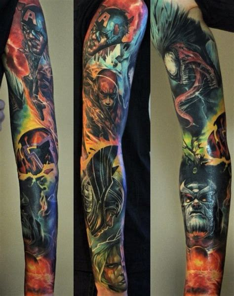 avengers crew realistic tattoo sleeve best tattoo ideas