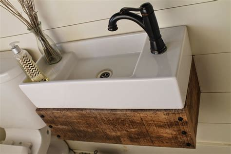 Build A Floating Vanity | remodelaholic reclaimed wood floating vanity