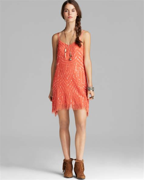 free beaded dress lyst free dress beaded mesh cocktail in orange