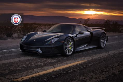 black porsche black porsche 918 spyder weissach adorned with hre wheels