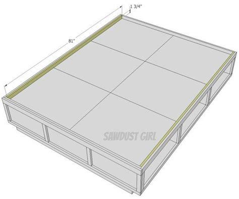 queen size platform bed plans queen size platform storage bed plans sawdust girl 174