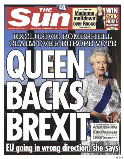 the sun uk front page for thursday 10 december 2015 the sun queen brexit story editor tony gallagher says