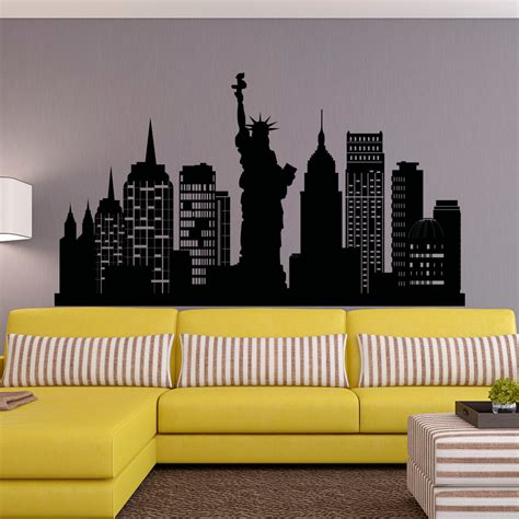 new york skyline wall sticker new york city skyline wall decal nyc silhouette new york wall