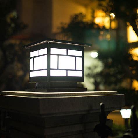 solar column headlights wall lights outdoor garden lamps