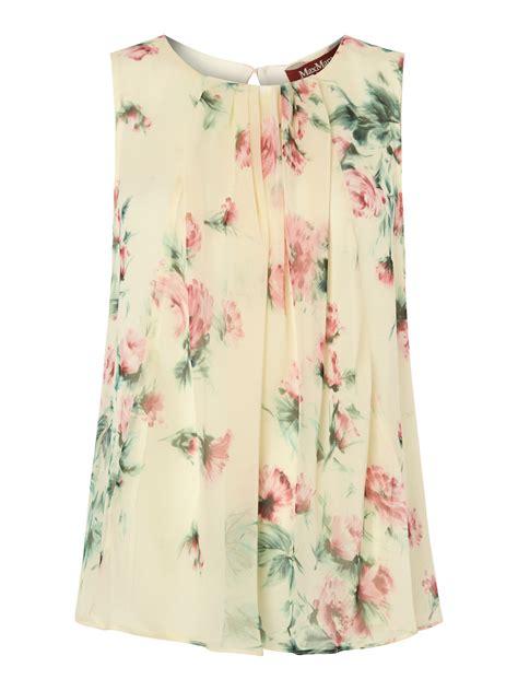 Sleeveless Floral Top max mara studio floral print sleeveless silk top in white