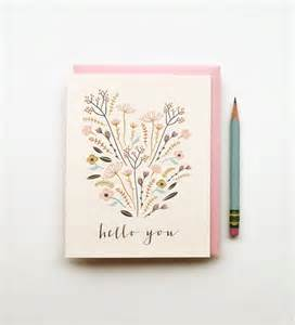 Birthday Card Drawings Hello You Illustrated Drawing Birthday Card Pastels Floral