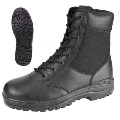 security boots security guard officer airsoft black leather patrol duty 8