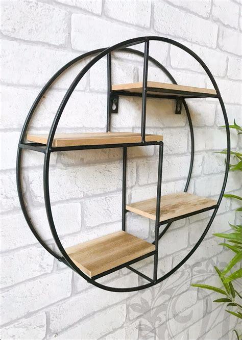 Round Wall Unit Retro Wood Industrial Style Metal Shelf Rack Storage Black 6482218761258   eBay