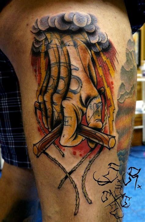 tattoo cartoon monster cartoon style colored tattoo of monster skull