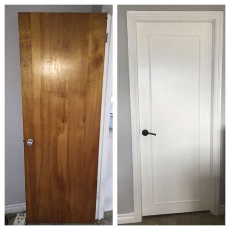 updated wood doors to a modern look with wood trim primer white pearl paint and new