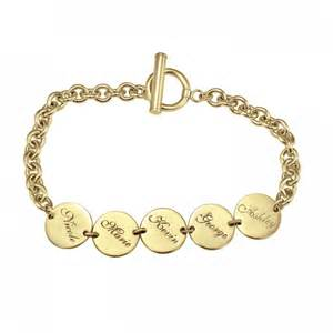 Personalized Gold Rings Round Dangle Family Name Bracelet Personalized Jewelry