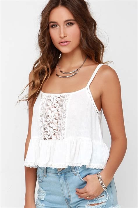 Blouse Babydoll Pretty Pretty Ivory Top Crop Top Babydoll Top Lace Top 31 00