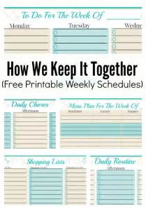 Organizing Schedule Template by How We Keep It Together And Free Weekly Planner Templates