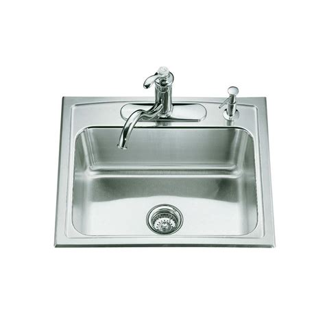 Drop In Sinks Kitchen Kohler Toccata Drop In Stainless Steel 25 In 4 Single Bowl Kitchen Sink K 3348 4 Na The