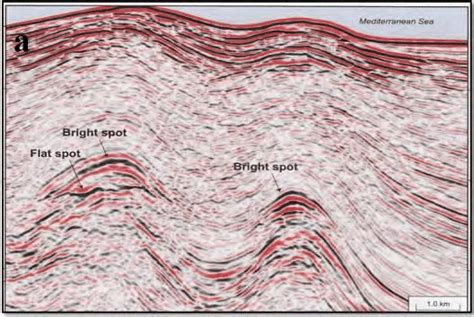 seismic section seismic sections showing a flat spot bright spot b