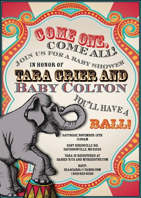 Circus Baby Shower Invitation Templates by 1000 Images About Baby Shower Peanut Circus