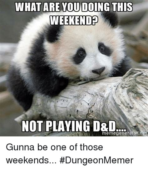 What You Doing Meme - what are you doing this weekend not playing d d