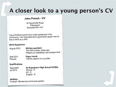 exle cv for young person using design to showcase young people s potential by