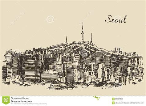 sketchbook korea seoul special city south korea vintage sketch stock vector