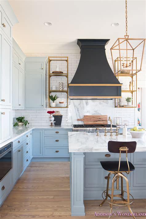 Charming Shaker Style Living Room Furniture #7: Kitchen-white-marble-calcutta-gold-open-shelves-gold-black-vent-hood-blue-gray-cabinets-shaker-style-black-chevron-tile-subway-white-backsplash-decor-ideas-5-of-32.jpg