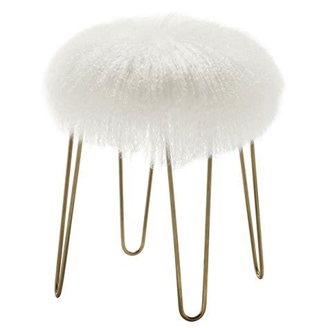 white and gold ottoman zabel modern white sheepskin gold ottoman eurway