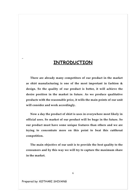 Introduction Letter Manufacturing Company Business For Rqeady Made Shirts