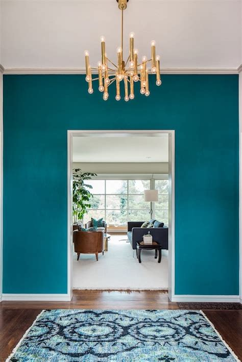 peacock blue paint color eclectic entrance foyer benjamin galapagos turquoise