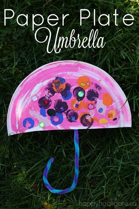 How To Make Umbrella With Paper Plate - paper plate umbrella craft happy hooligans